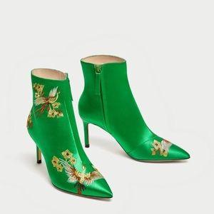 ▪️zara green satin heels▪️asian bird print pumps